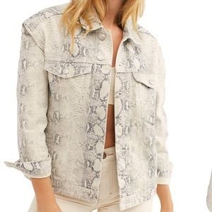 Free people Snakeskin Print Trucker Jacket